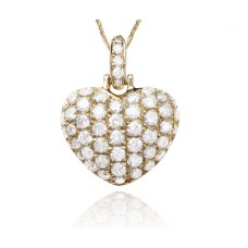 Corazon Pave Diamond Pendant 18K Yellow Gold