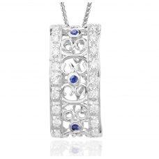 Royale Sapphire Diamond Pendant 18K White Gold