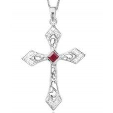 Sacro Ruby Diamond Pendant 18K White Gold