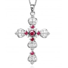 Celtic Ruby Diamond Pendant 18K White Gold