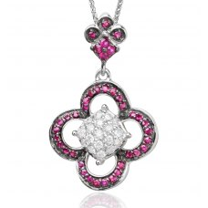 Grazia Ruby Diamond Pendant 18K White Gold