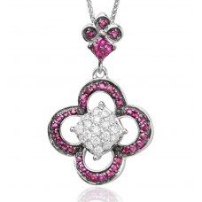 Grazia Ruby Diamond Pendant 18K White Gold