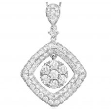 Dazzling Diamond Pendant 18K White Gold