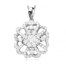 Instinto Prong Diamond Pendant 18K White Gold
