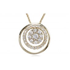 Spiral Cluster Diamond pendant 18K Yellow Gold