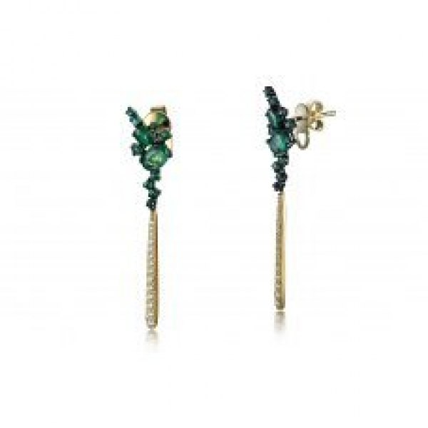 Ascii Emerald Diamond Earring 18k Yellow Gold