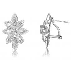 Fluer Channel Diamond Earring 18K White Gold