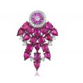 Rever Ruby Diamond Earring 18k White Gold