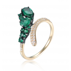 Ascii Emerald Diamond Ring 18k Yellow Gold