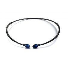 Sapphire Spinel Diamond Choker Necklace 18K Black Gold