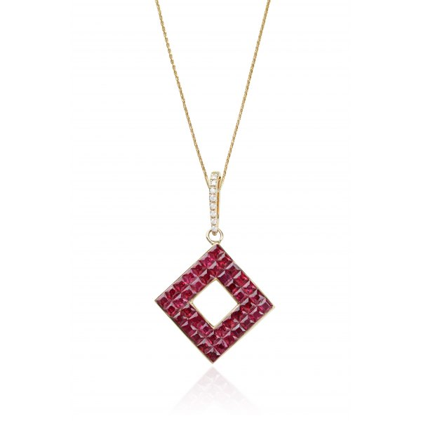 Pansy Ruby Diamond Pendant 18K Yellow Gold