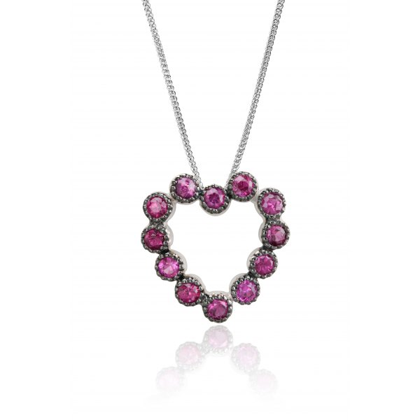 Herz Ruby Diamond Pendant 18K White Gold