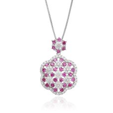 Annata Ruby Diamond Pendant 18K White Gold