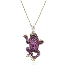 Frosch Ruby Diamond Pendant 18K Black Gold