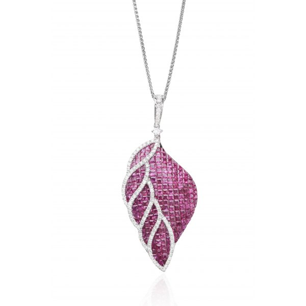 Feder Ruby Diamond Pendant 18K White Gold