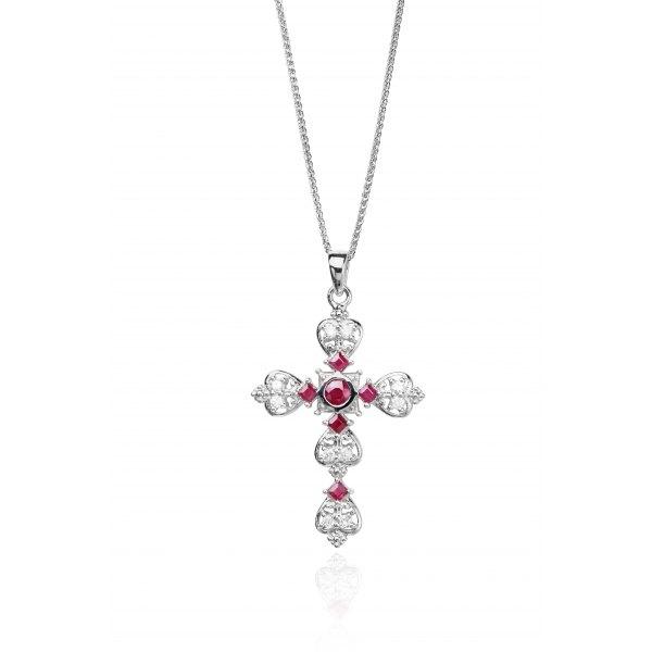 Celtic Ruby Diamond Pendant 18K White Gold