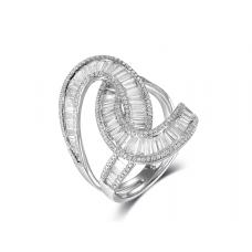 Crisscross Channel Diamond Ring 18k White Gold