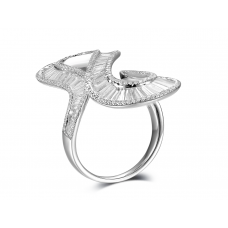 Tributary Channel Diamond Ring 18k White Gold
