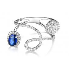 Bivo Blue Sapphire Diamond Ring