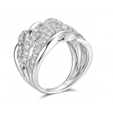 Wavy Channel Diamond Ring 18k White Gold