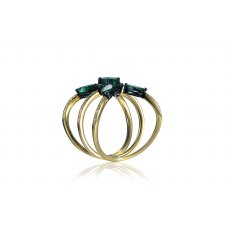 Ceanus Emerald Diamond Ring 18k Yellow Gold
