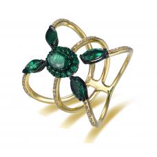 Ceanus Emerald Diamond Ring 18k Yellow Gold