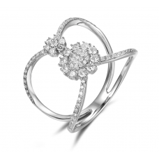Edith Shared Prong Diamond Ring 18K White Gold