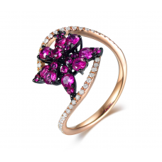 Robust Ruby Diamond Ring 18k Rose Gold