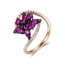 Robust Ruby Diamond Ring 18k Rose Gold
