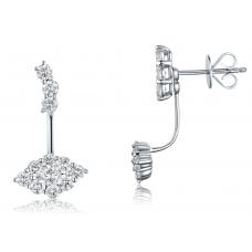 Channel 2 IN 1 Diamond Earring 18K White Gold