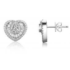 Gusto Hearts Diamond Earring 18K White Gold
