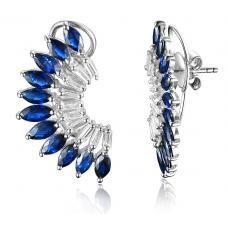 Polrog Sapphire Diamond Earring 18k White Gold