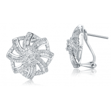 Petiol Diamond Earring 18K White Gold