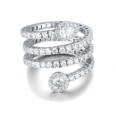 Helix Diamond Ring 18K White Gold