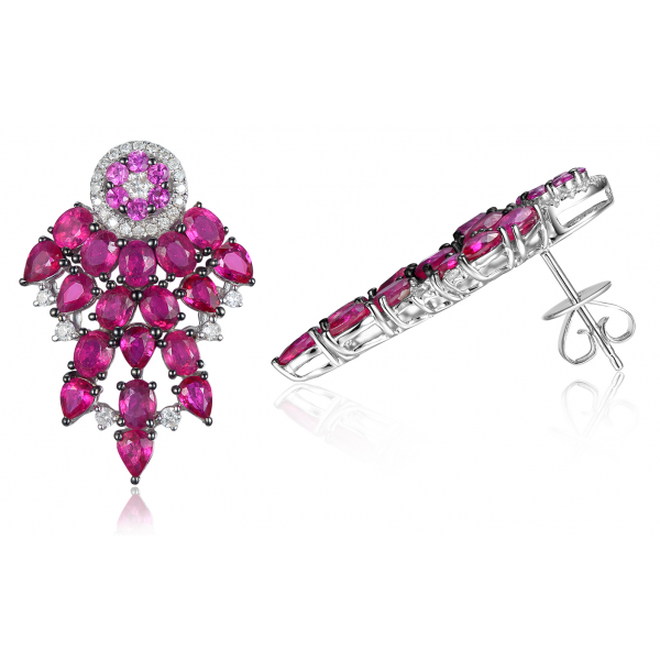 Rever Ruby Diamond Earring 18k White Gold