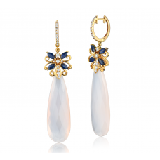 Agate Sapphire Diamond Earring 18K Yellow Gold