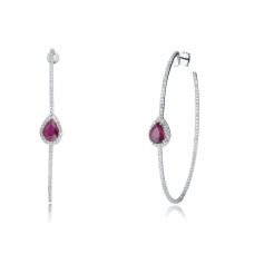 Modesty Ruby Diamond Earring 18K White Gold