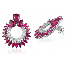 Groof Ruby Diamond Earring 18k Black Gold