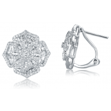Octagonal Prism Diamond Earring 18K White Gold
