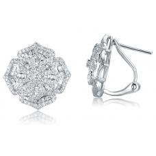 Octagonal Prism Diamond Earring 18K White Gold
