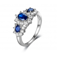 Junia Sapphire Diamond Ring 18K White Gold