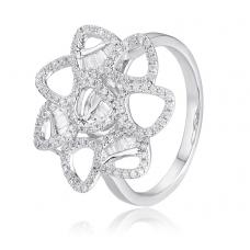 Velvet Channel Diamond Ring 18K White Gold