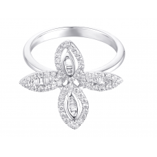 Four Leafy Channel Diamond Ring 18K White Gold
