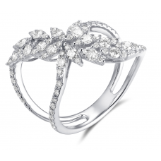Livia Channel Diamond Ring 18K White Gold