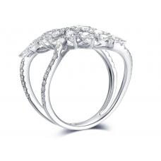 Livia Channel Diamond Ring 18K White Gold