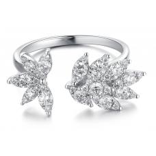 Leafy Channel Diamond Ring 18K White Gold