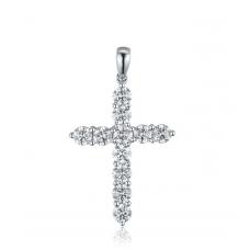 Cross Diamond Pendant 18K White Gold