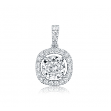 Halo Illusion Diamond Pendant 18K White Gold
