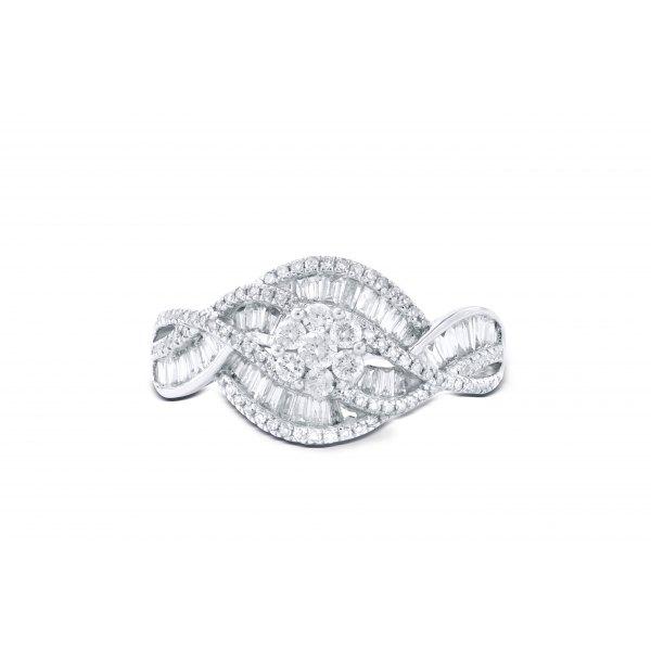 Aukai Prong Diamond Ring 18K White Gold
