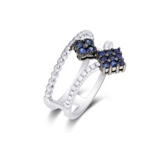 Marlin Blue Sapphire Diamond Ring 18K White Gold